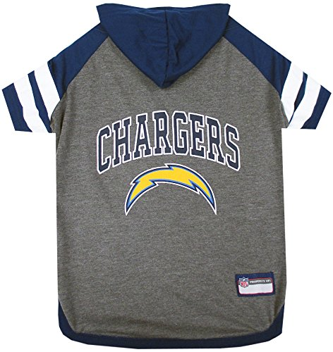 NFL Los Angeles Chargers Hoodie for Dogs & Cats. | NFL Football Licensed Dog Hoody Tee Shirt, Small| Sports Hoody T-Shirt for Pets | Licensed Sporty Dog Shirt. ()