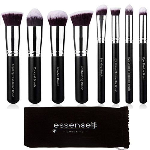 Professional Grade Labeled Kabuki Makeup Brush Set -8PCs