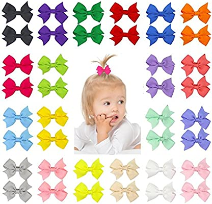 Girl/'s Kids Hair Bow Grosgrain Ribbon With Cute Patterns Hair Bows Holders