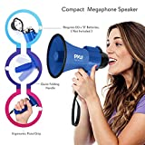Portable Megaphone Speaker Siren Bullhorn - Compact and Battery Operated with 30 Watt Power, Microphone, 2 Modes, PA Sound and Foldable Handle for Cheerleading and Police Use - Pyle PMP31BL
