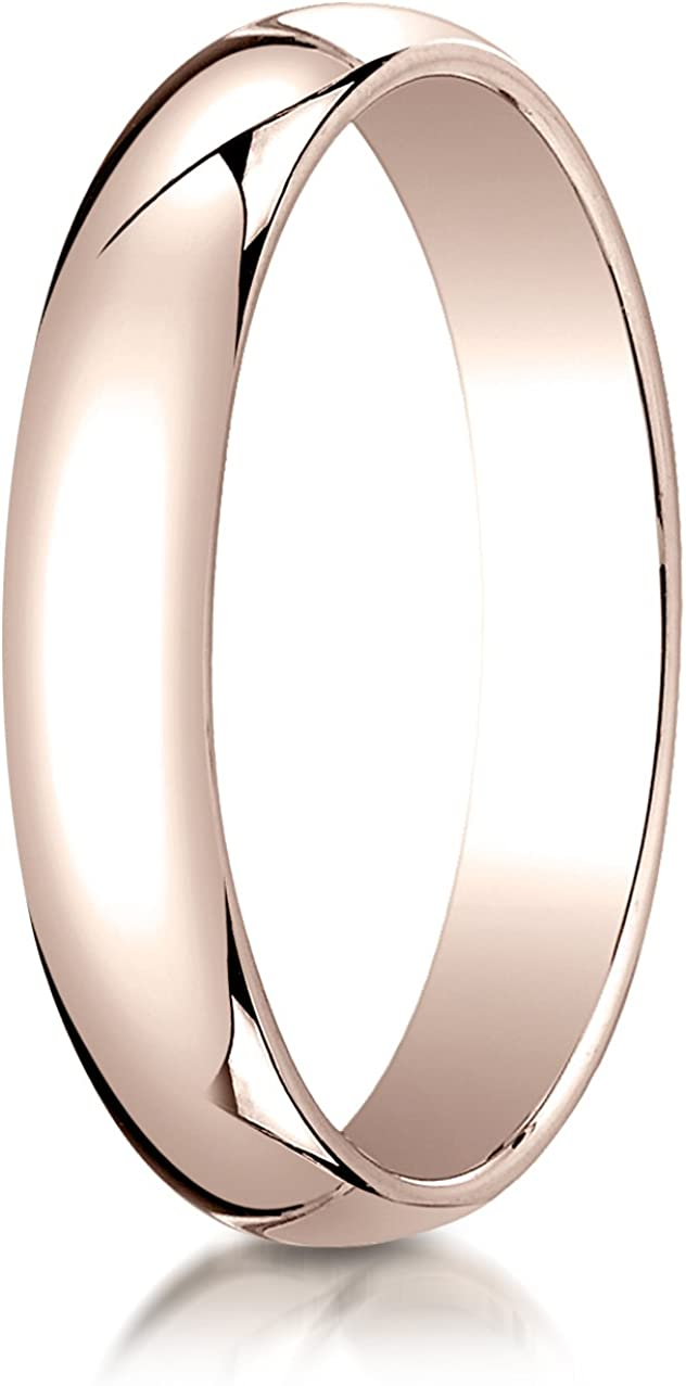 Benchmark 14K Rose Gold 4mm Slightly Domed Traditional Oval Wedding Band Ring (Sizes 4 - 15 )
