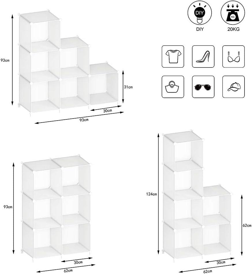 Organizador port/átil de pl/ástico Estanter/ía Estante Estante/… 93x93x30cm SIMPDIY Storage Cubos modulares 9 Cubos Transparente
