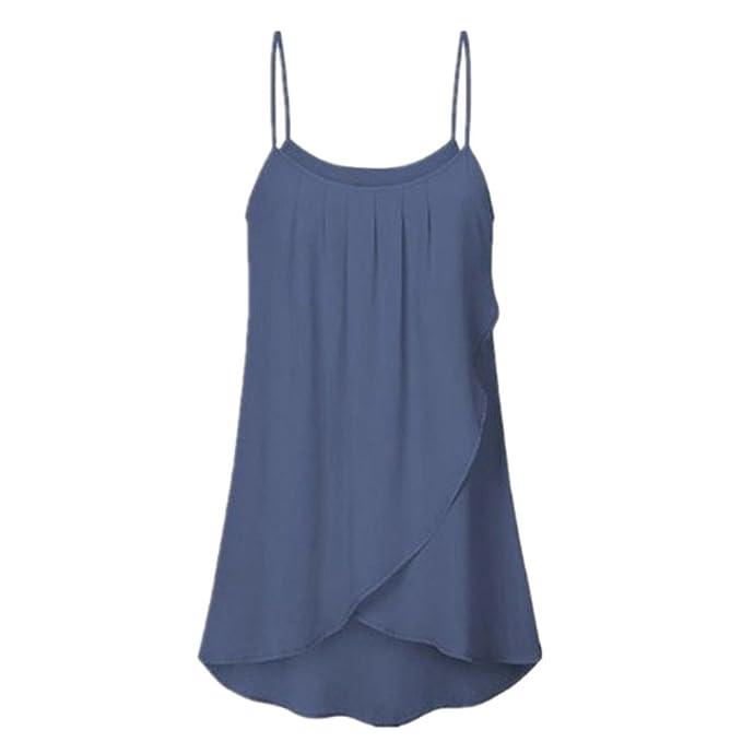 8bda7c3124f759 2019 NOVUO do Donna alla Moda Casual e Dimensioni Solido Senza Maniche  svolazzanti in Canotta Camis Chiffon By WUDUBE: Amazon.it: Abbigliamento