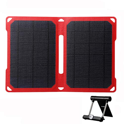 SUAOKI 14W Portable Solar Charger Foldable ETFE Solar Panel with Dual USB Port, Intelligent Charging Technology and Adjustable Stand Compatible with Cell Phone iPhone Samsung iPad Tablet and More -