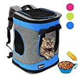 Pawsse Comfort Pet Carrier Backpack for Cats and Dogs up to 15 LBS Outdoor Travel Carrier for Pets Hiking, Walking, Cycling & Outdoor Use 16″ H x13.2 L x12 W Blue