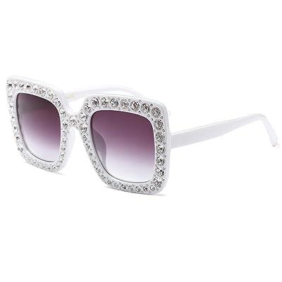 6e76eb628cd1cb Aiweijia Lunettes de soleil femmes lunettes de soleil en cristal étincelant  monture carré lunettes