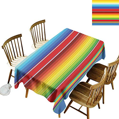 W Machine Sky Restaurant Tablecloth Abstract Horizontal and Colored Ethnic Blanket Rug Lines Pattern Vibrant Abstract Design W60 xL90 for Family Dinners,Parties,Everyday Use