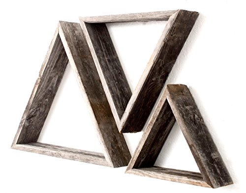 BarnwoodUSA | Rustic Triangles Set of 3 - 100 Percent Reclaimed Wood (Triangles, Weathered Gray)