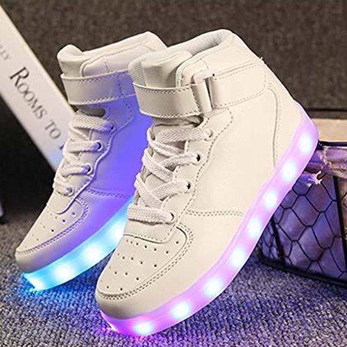 Scarpe Sneakers DoGeek Sportive Luci Uomo Uomo Luminosi Bianco con Scarpe LED Accendono Zxxp87qI
