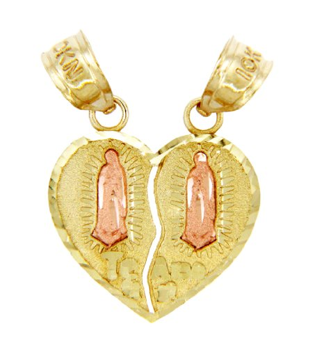 14k Two-Tone Gold Breakable Heart Pendant Te Amo Guadalupe Charm by Heart Pendants