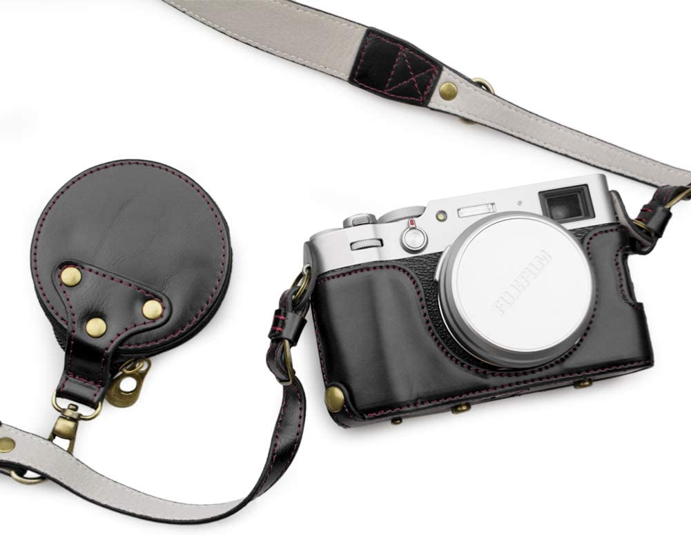 Funda de piel sint/ética para FUJI X100V con correa para el hombro y bolsa de almacenamiento MUZIRI KINOKOO funda protectora para Fujifilm X100V