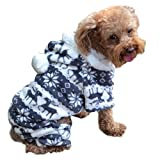 Pet Dog Hoodie Sweater Christmas Bells Dog Warm Clothes Coat Costume ANBOO For Small Dogs Winter Sweaters (M, Gray)