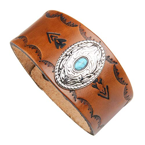 DENTRUN Adjustable Turquoise Genuine Leather Cuff Bracelet Punk Style Men Women Jewelry ()