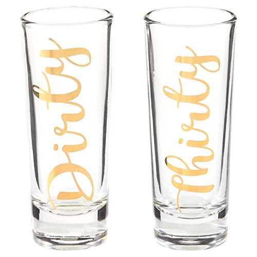 Blue Panda Novelty Birthday Gift - Dirty Thirty Shot Glasses Pair with Gold Foil Print for Celebrating Turning 30, Party Favors- Set of 2, 2 oz Each