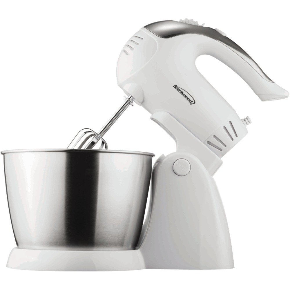 1 - 5-Speed Stand Mixer with Bowl, 200W , Power head detaches for use as a portable mixer , Stainless steel bowl