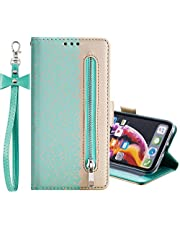 """EnjoyCase Wallet Zipper Case for iPhone 11 Pro Max 6.5"""",Lace Splice PU Leather Flip Wallet Folio Cover Stand Shockproof Case for iPhone 11 Pro Max 6.5"""""""