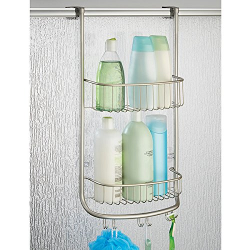 -[ InterDesign Forma Over-Door Shower Caddy, Small Hanging Bathroom Shelves, Made of Metal, Silver