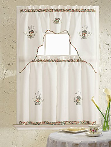 naturally home Amanda Collection Embroidered Kitchen Curtain