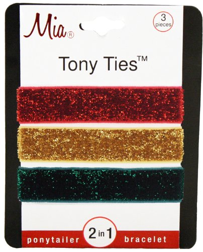 Mia Tony Hair Ties Glitter, Red, Gold, Green