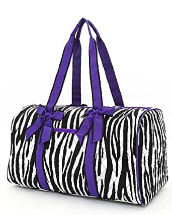 Belvah Black & Purple Quilted Zebra Large Duffle Bag