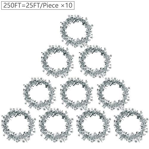 Woooow 250 Ft(10pcs 25Ft/Piece) Star Garland Tinsel Stars Brace-Tinsel Wire Garland Cheerful Christmas Adornment Holiday Wedding Party Festival Use(Silver)