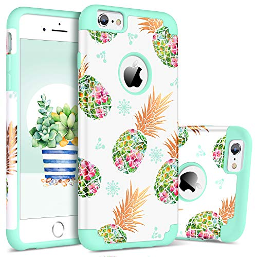 BENTOBEN Case for iPhone 6s/6, Pretty Pineapple Super Slim Hard PC Soft Rubber Glossy Anti-Scratch Shock Proof Impact Resistant Girl Women Protective Case Cover for Apple iPhone 6/6s 4.7, Mint Green