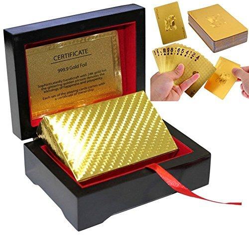 LLF 24K Gold Foil Poker Playing Cards Deck Carta de Baralhos With Black Wooden Box