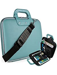"""Vegan Leather Ellen Cube Carrying Blue Shoulder Bag w/ Handles For Samsung Galaxy 9.7"""" to 10.1"""" Tablet Laptop Computers"""