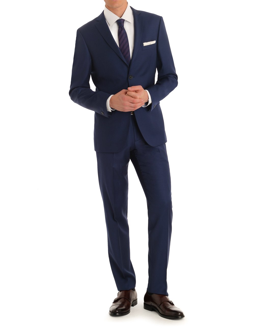 MDRN Uomo Men's Slim Fit 2 Piece Suit, Navy, 46L/40W