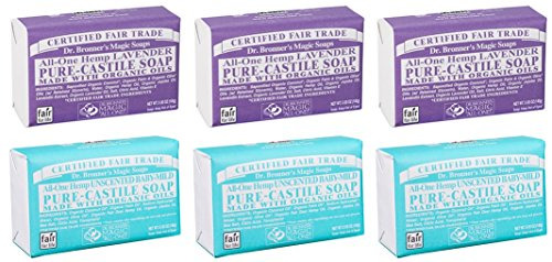 Price comparison product image Dr. Bronner's Magic Castile Bar Soaps, Lavender & Unscented Baby-Mild (6x5 Oz.)