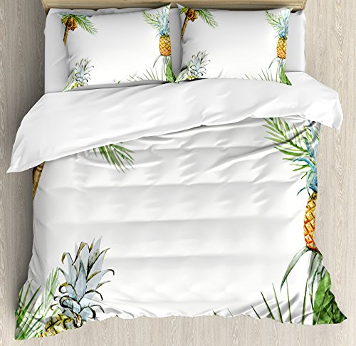 Ambesonne Pineapple Duvet Cover Set, Watercolor Tropical Island Style Border Print Exotic Fruit Palm Trees and Leaves, 3 Piece Bedding Set with Pillow Shams, Queen/Full, Multicolor (Tropical Watercolor)