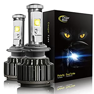 CougarMotor LED Headlight Bulbs All-in-One Conversion Kit - H7 -7,200Lm 6000K Cool White CREE - 3 Year Warranty