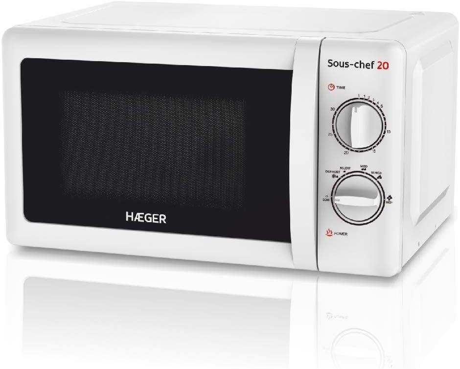 HAEGER SOUS-CHEF 20 - Microondas con 700W de potencia, capacidad de 20L - 6 niveles de potencia, función de descongelación, temporizador de 30 minutos, plato giratorio en vidrio de 24,5cm