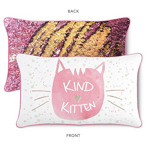 Kind Kitten Kids Pillow with Reversible Pink and Gold Color-Changing Mermaid Sequins
