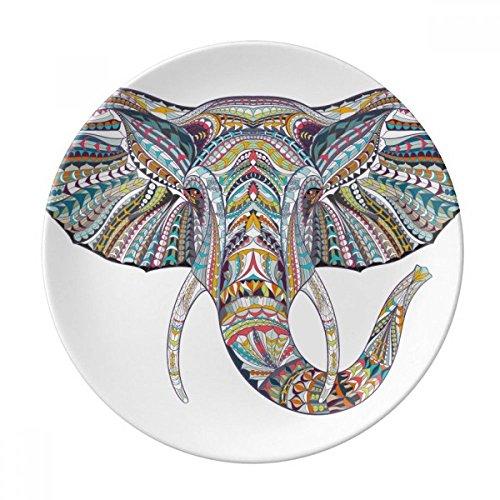 (Mosaic Style Colorful Elephant Design Dessert Plate Decorative Porcelain 8 inch Dinner Home )