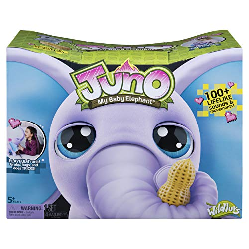 51X6XcnvJ0L - Wildluvs Juno My Baby Elephant with Interactive Moving Trunk & Over 150 Sounds & Movements