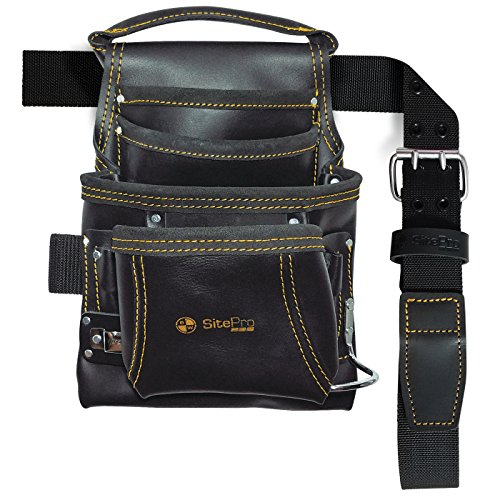 SitePro 10113-TSB 10-Pocket Carpenter's Top Grain Leather Nail and Tool Bag with Belt
