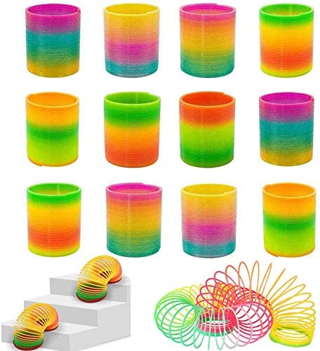 Smart Novelty Extra Long Magic Spring Assorted Neon Colors 1 Inch by 4 Inches Mini Coil Springs 1 Dozen