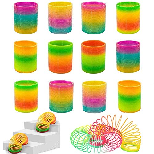 Rainbow Magic Spring, 12 PCS Colorful Rainbow Neon Plastic Spring Toy (Spring Toys)