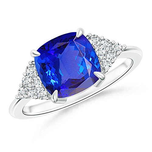 Tanzanite Diamond Cluster Ring (Cushion Tanzanite Solitaire Ring With Cluster Diamond Accents in Platinum)