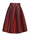 Dasbayla Womens High Waist Print Floral Pleated Skirt Midi Skater Skirt one Size
