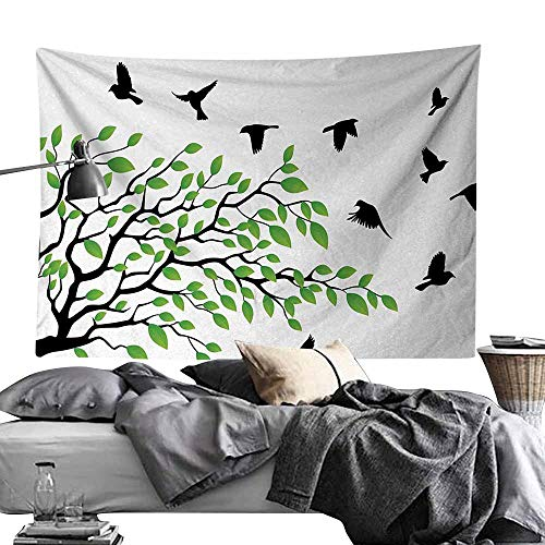 - Maureen Austin Tapestry for Home Modern Decor,Birds,Spring Tree with Silhouette of Flyind Birds Wind Liberty Peace Design Living,Green Black White Bedroom Living Room Dorm Decor70 x90