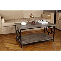 GIA Rectangular Coffee Table with Lower Storage Shelf - Gray Ash Color - Black Frame - Easy Assemble - Heat Resistance Wooden Top and Bottom