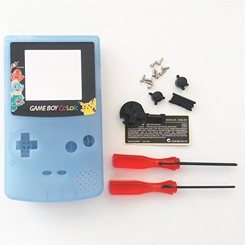 New Replacement Full Housing Shell Cover Case Pack Backlight Backlit for Nintendo Gameboy Color GBC Repair Part-Luminous Blue - Repair Nintendo Game Boy