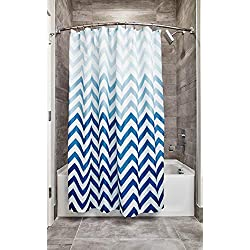 "InterDesign 52020 Ombre Chevron Fabric Shower Curtain - Standard, 72"" x 72"", Blue Multi"