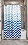 InterDesign Ombre Chevron Fabric Shower Curtain, Modern Mildew-Resistant Bath Liner for Master, Kid's, Guest Bathroom, 72 x 72 Inches, Blue and White