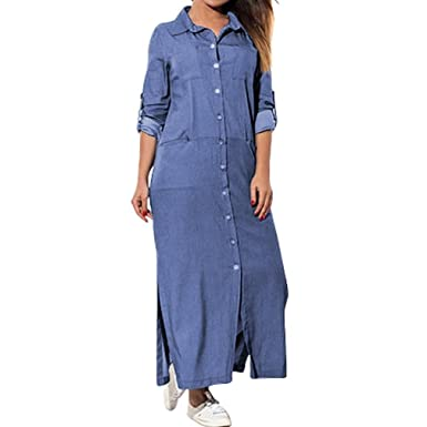 size 40 98f3f 33a49 Longra-Vestiti Jeans Donna Estivi Vestiti Camicia Donna Maniche Corte  Camicia Lunga con Tasca Estate Blu Vestiti Donna Casual Mini Vestito Scoll  AV ...
