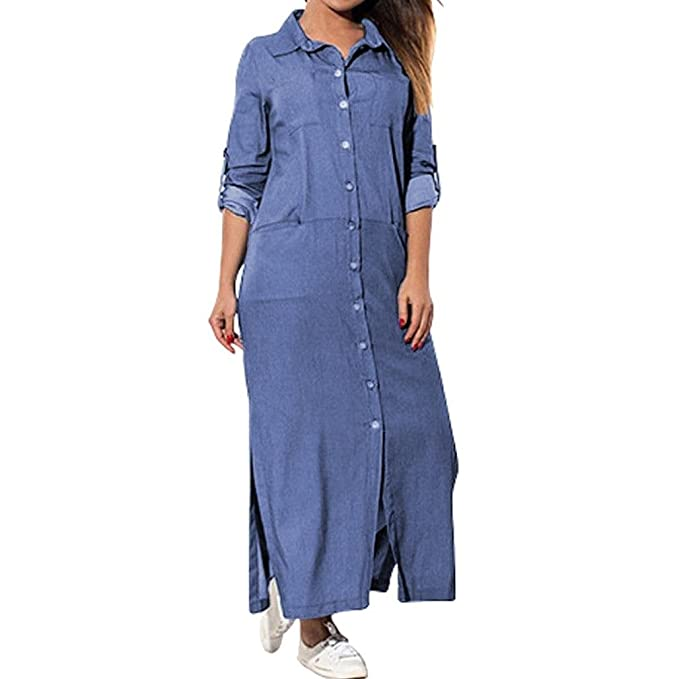 5c528c317c87 Longra Abito Denim a Maniche Lunghe Donna con Tasche Gonna di Jeans Abito da  Camicia Fessura