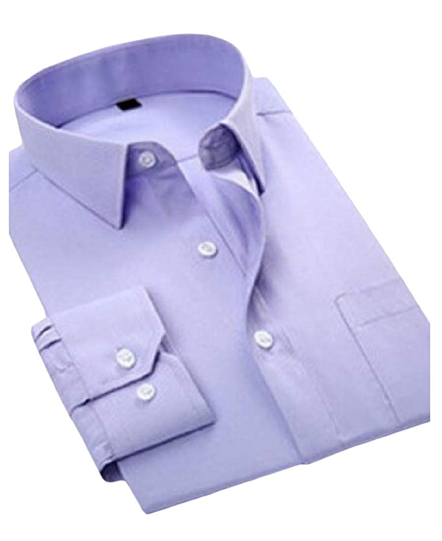 Joe Wenko Men Regular Fit Button-Down Long Sleeve Office Twill Non-Iron Dress Shirts