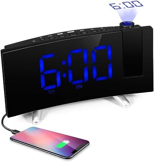 SKM Reloj Despertador de Proyección Digital Radio FM Reloj de ...